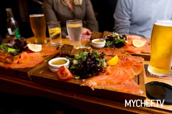 Burren Smoked Irish Organic Salmon Platter at the Roadside Tavern